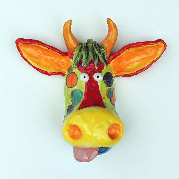 Cow Mask Ceramic Wall Hanging Ceramic Cow Face Cow Sculpture Farm Animals Cows Cow Art Ceramic Cow51637 Cow Mask Cow Art Cow