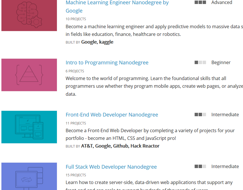 All Courses and Nanodegree Programs | Udacity | Tech