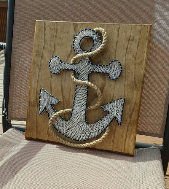Nautical Anchor String Art with Rope, FAST SHIPPING #stringart