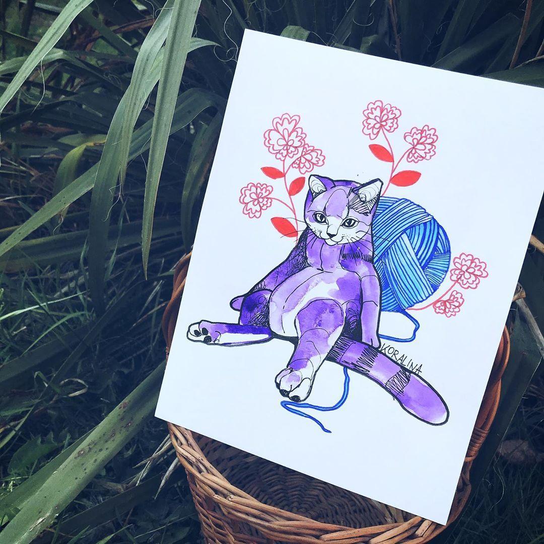Kotek kłopotek🐱Projekt do przygarnięcia oczywiście🌿 #cat #catlovers #catsofinstagram #cats #catlife #cattattoo #tattoo #tattoos #ink #inked #tattooing #tattooer #wroclaw #poland #polandtattoos #illustration #graphic #sketch #drawing #graphictattoo