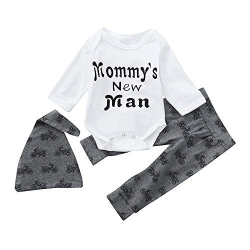 893203ee040a Baby Boy 3 Piece Letter Long Sleeve Romper Top+Bike Pant+Hat Set for ...