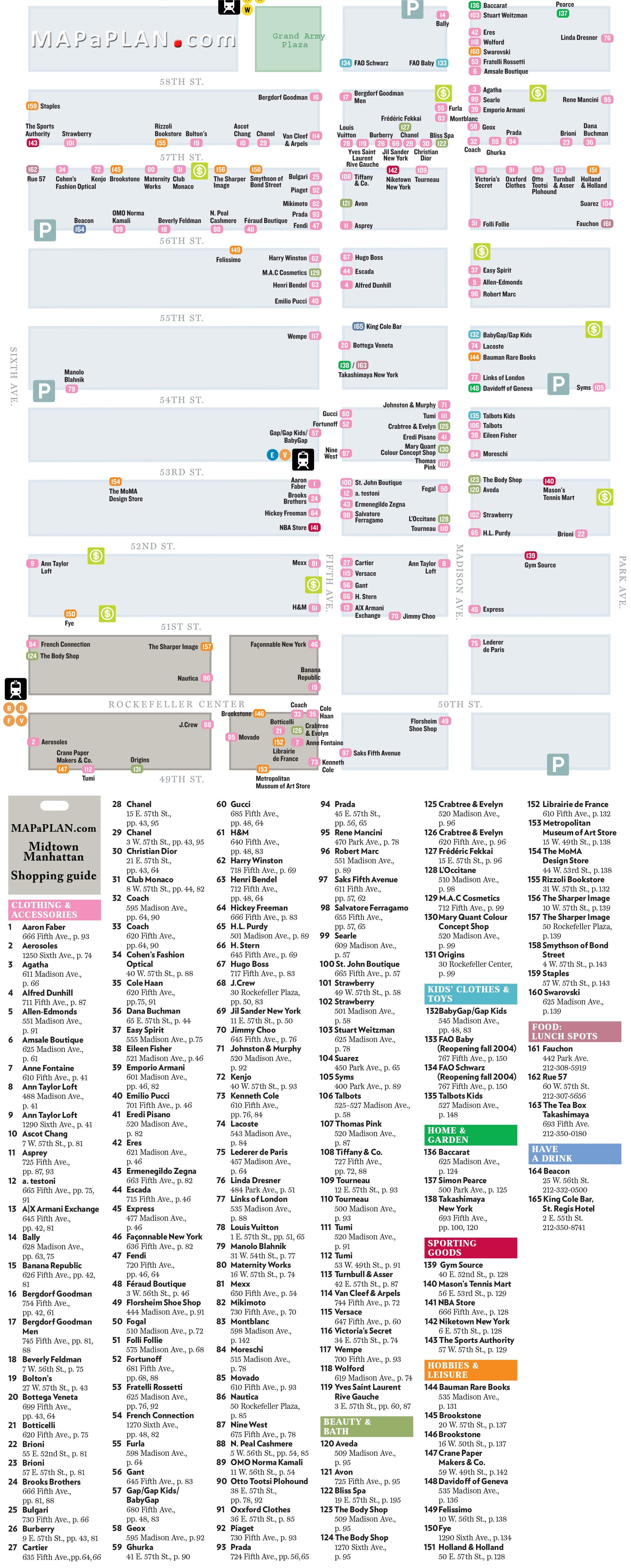midtown manhattan shopping guide directory list new york top tourist attractions map