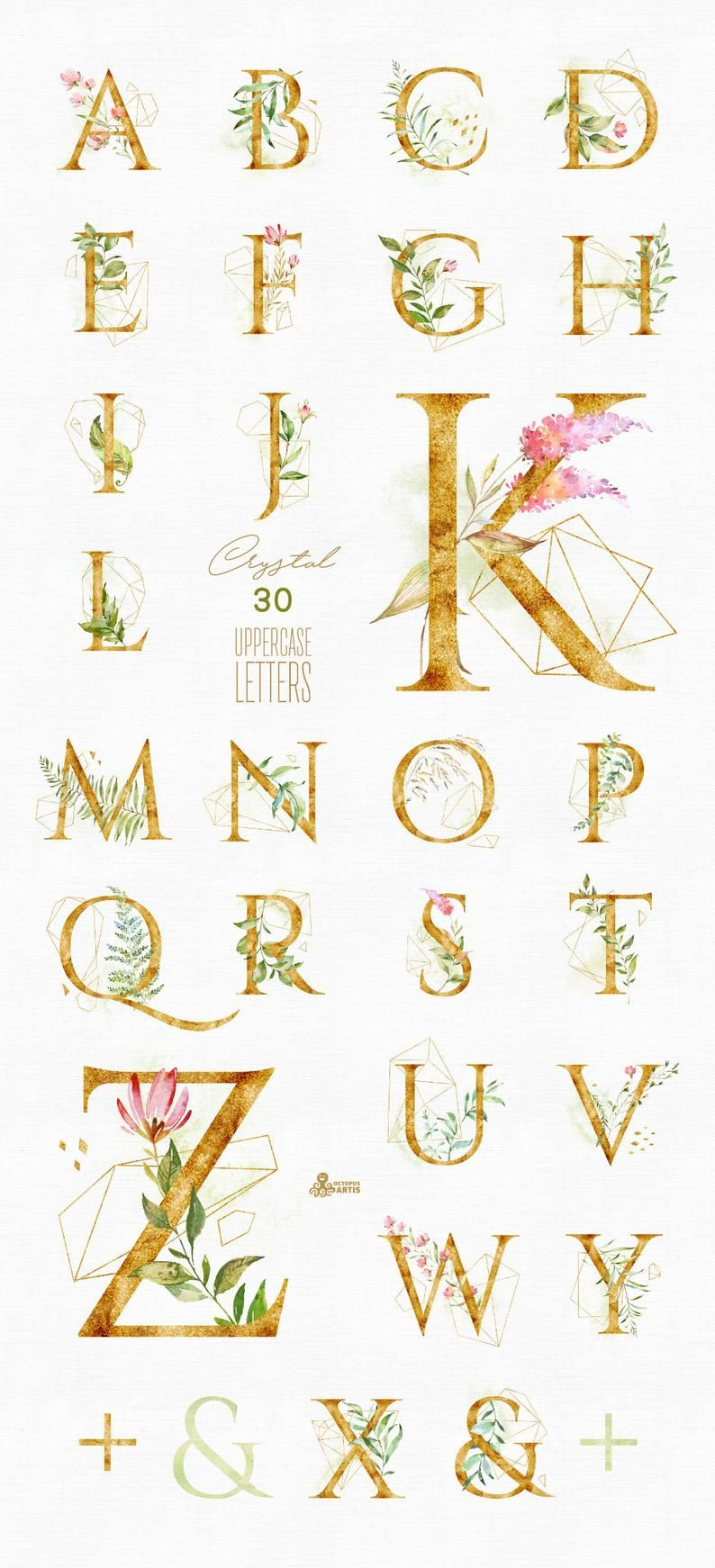 Crystal. Letters. Watercolor floral & alphabet pre-made clipart, leaf, monogram, gold, green, geometric, wild, wedding, bridal, logo, diy