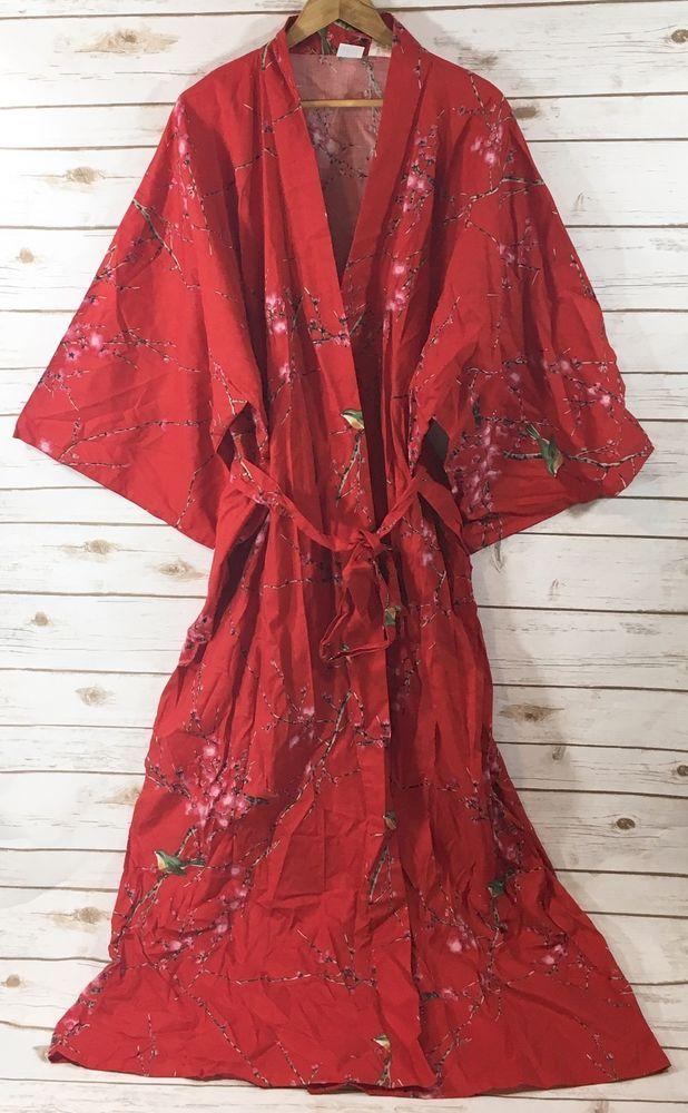 790ebd6d6 NEW Smithsonian Institution Japan Kimono Robe Red Cherry Blossom Bird Print  XL | eBay