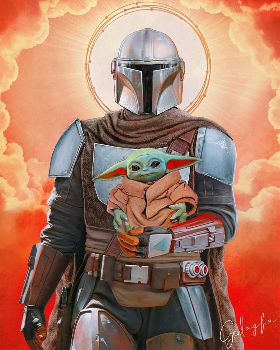 Gedo On Instagram Saint Mando And Baby Yoda Themandalorian Starwars Art Movies Instagram Mando Star Wars Images Star Wars Art Star Wars Pictures