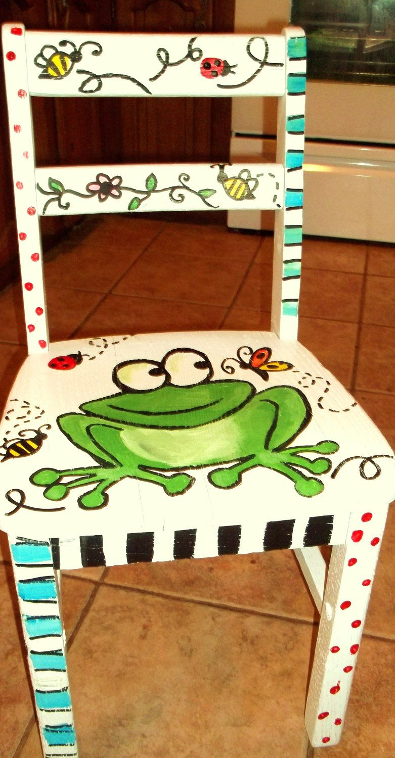 Bemalte Stühle painted stools painted furniture childrens by julesdoodles