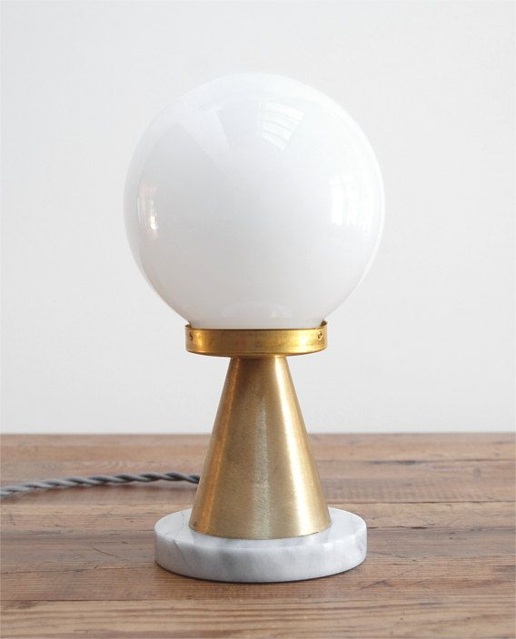 Mod White Marble Polished Brass Hand Blown Glass Globe Table Lamp