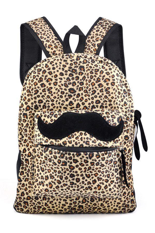 TOYL School Casual Unisex Leopard Canvas Mustache Backpack Shoulder Bags Rucksack Satchel boys and girls
