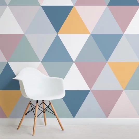 Colourful Geometric Triangle Pattern Wallpaper Mural In 2020