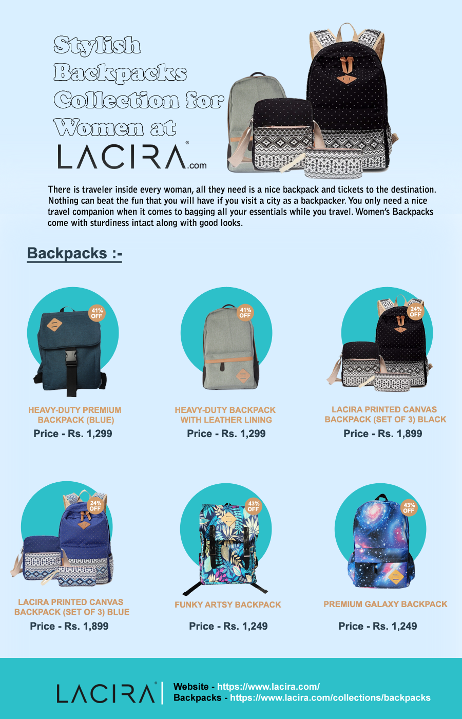 Stylish Backpacks Collection for Women at Lacira There is traveler inside  every women, all they need is nice backpacks and tickets to the destination. d33a1364c0