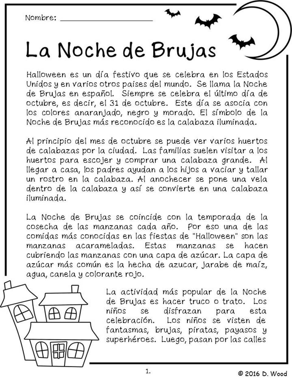 worksheet Spanish Reading Comprehension Worksheets halloween spanish la noche de brujas bilingual reading english on the celebration of it includes a total of