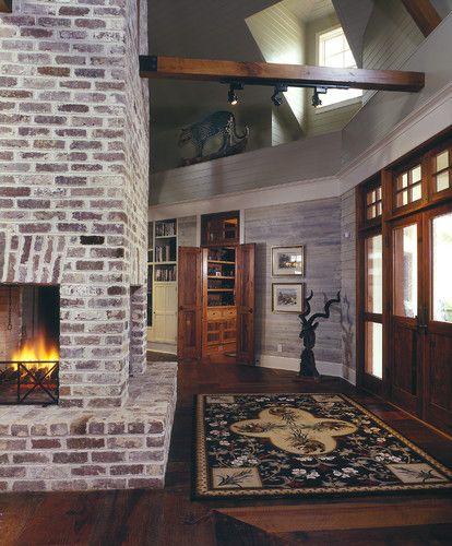 Brick Old Carolina Savannah Gray Would Be Beautiful With A Cobblestone Colored Hardieshingle Siding Accen White Wash Brick Brick Fireplace Fireplace Design