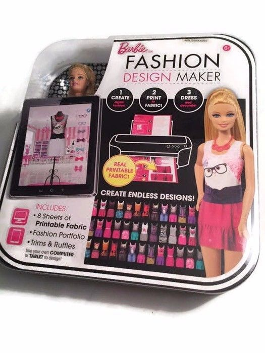 Barbie Design Fashion Maker Doll New Mattel Fabric Kit Printable Print Dress Nib Ebay Barbie Barbie Fashion Printable Fabric