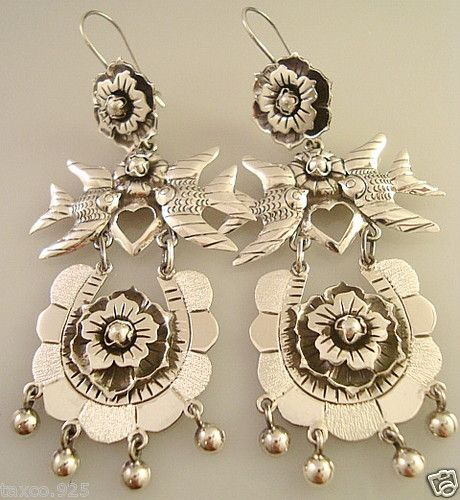 692f34ad1 Frida Kahlo Design Taxco Mexican Sterling Silver Lovebird Flower Earrings  Mexico | eBay
