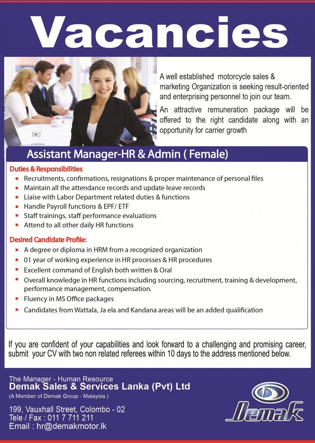 hr admin assistant manager job vacancy in sri lanka hr assistant job vacancy in malaysia