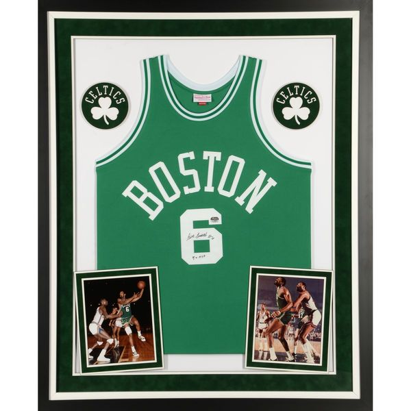 Bill Russell Boston Celtics Fanatics Authentic Deluxe Framed Autographed  Green Mitchell and Ness Jersey with 5x 9437fa974