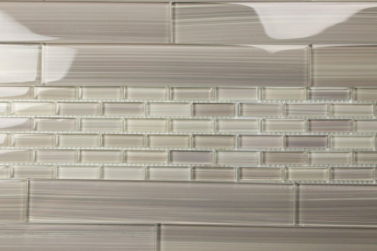 Light Beige Off White Glass Subway Tile Kitchen Backsplash Wall Sink ...