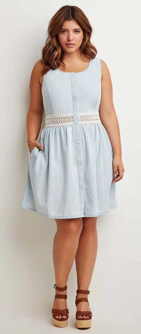 83f2d4dd79bf So cute! Plus Size Crochet-Paneled Chambray Dress