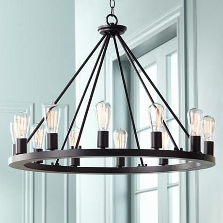 Lacey 28 wide round black chandelier black chandelier lacey 28 wide round black chandelier mozeypictures Image collections