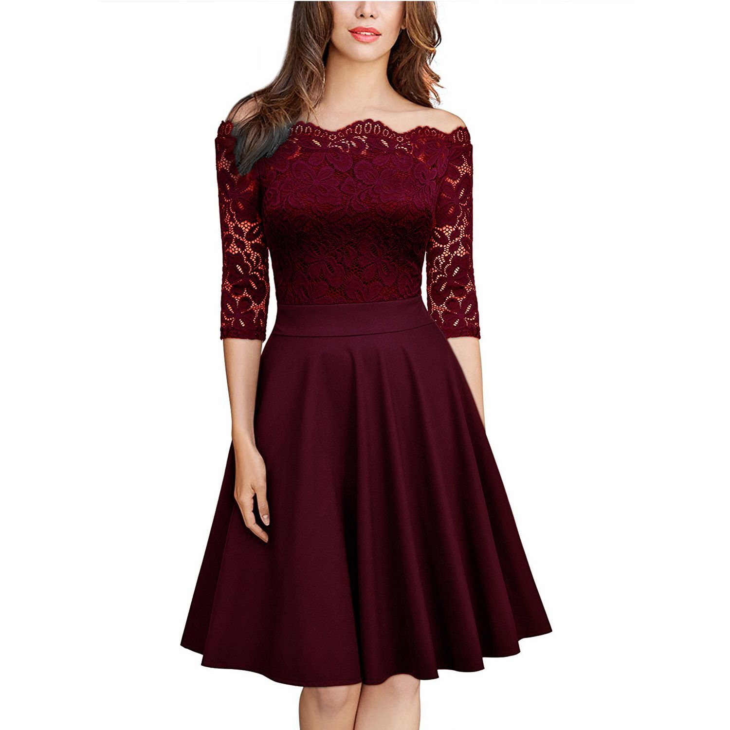 Aline half sleeves offtheshoulder lace prom evening party dresses