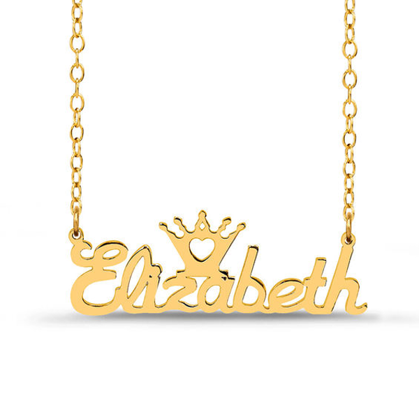 c4278b76acd0e Script Name and Crown with Heart Cut-Out Necklace in Sterling Silver ...