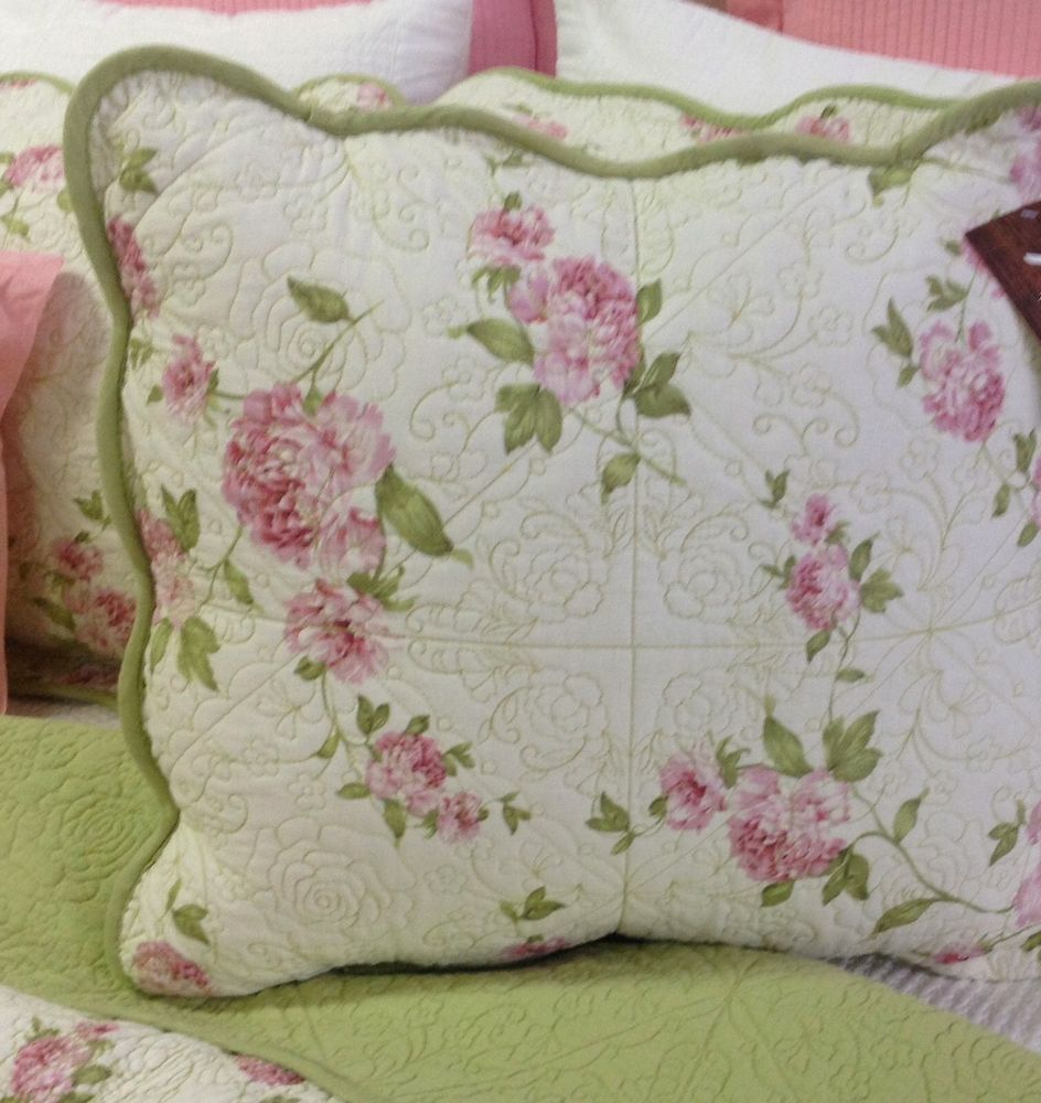 pillows floral and pin ticking with eyelet pink lace chic stripes shabby red pillow