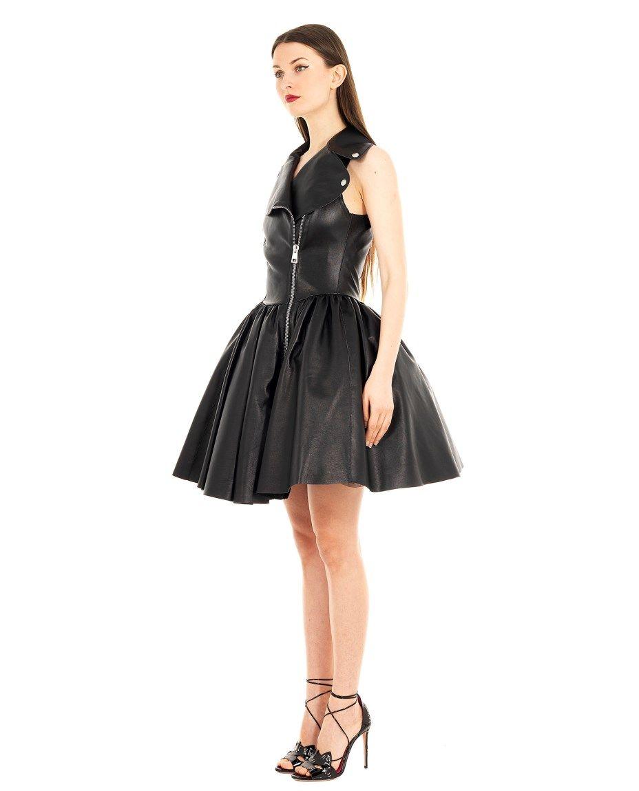 Alessandra de tomaso leather dress ss sleeveless leather dress