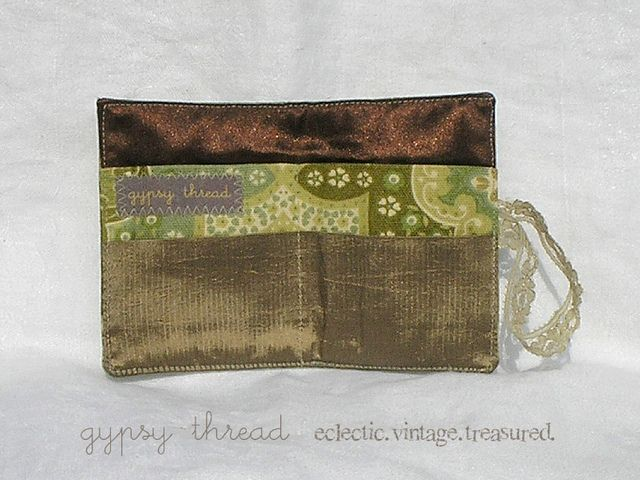 Green and Gold vintage Tea Wallet interior, by Gypsy Thread