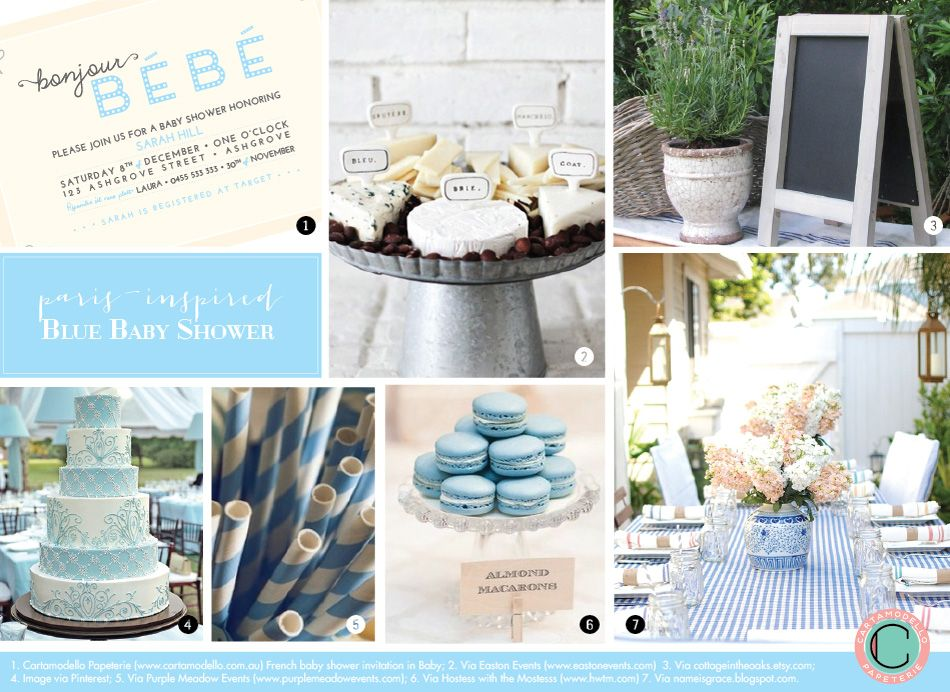 French Baby Shower Inspiration Board Bonjour Bebe In Shades Of Blue