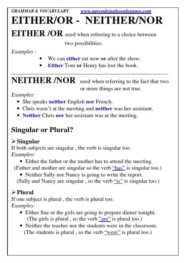 Either Or Neither Nor English Grammar Cambridge English Fcecae