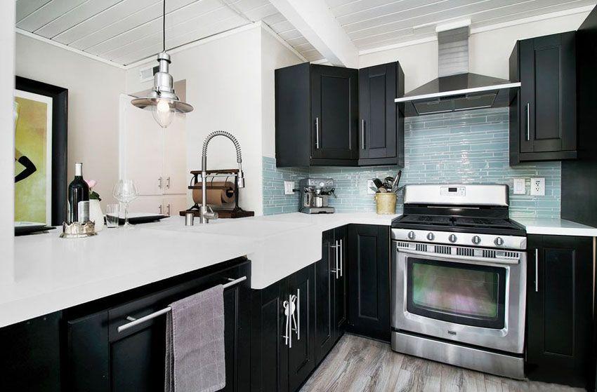 27 Small Kitchens With Dark Cabinets Design Ideas Kitchen Remodel Small Kitchen Design Small White Kitchen Design