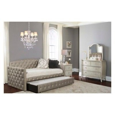 Memphis Upholstered Daybed With Trundle Twin Pewter Hillsdale