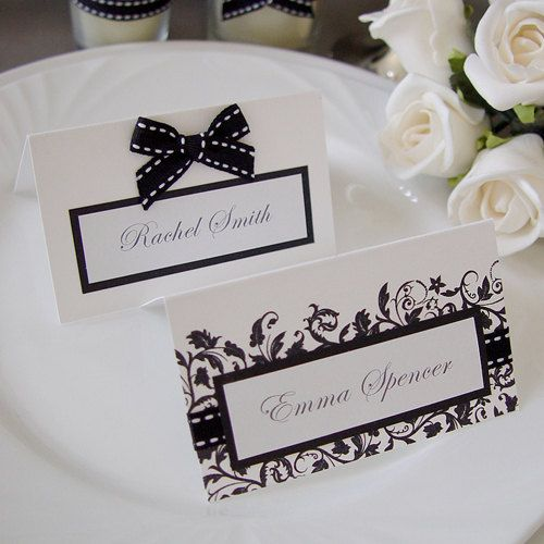 Black and white place cards Ware, A. 2013. Black and White Wedding ...