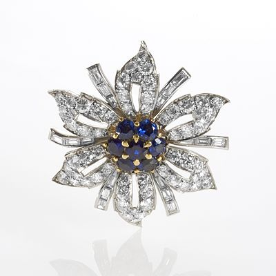 04a66c970e561 Sapphire and Diamond Flower Brooch Brooches Jewelry Antique Jewelry ...