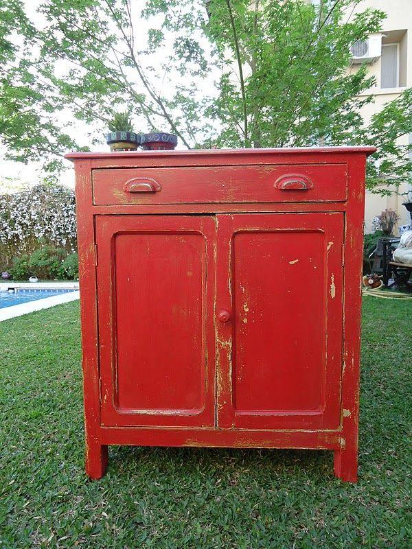 Lovely red cupboard beautiful bright painted furniture - Muebles antiguos reciclados ...