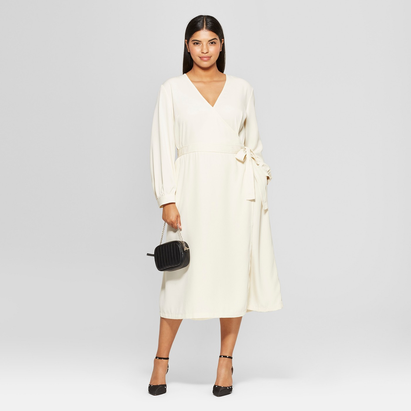 Never Worry About What To Wear To Work Again With These 25 Dresses White Long Sleeve Wrap Dress Long Sleeve Work Dress Long Sleeve Wrap Dress [ 1400 x 1400 Pixel ]