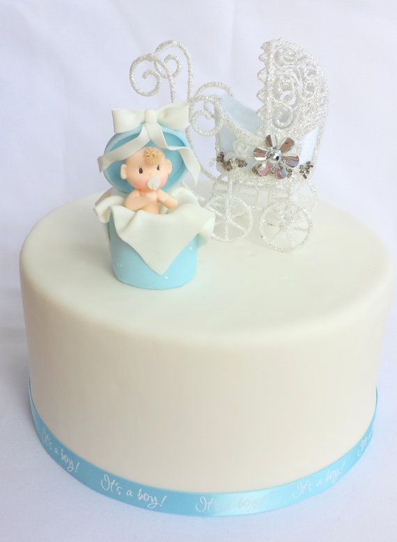 BABY SHOWER cake topper. Baby boy cake by ForeverSweetfavors, $20.00