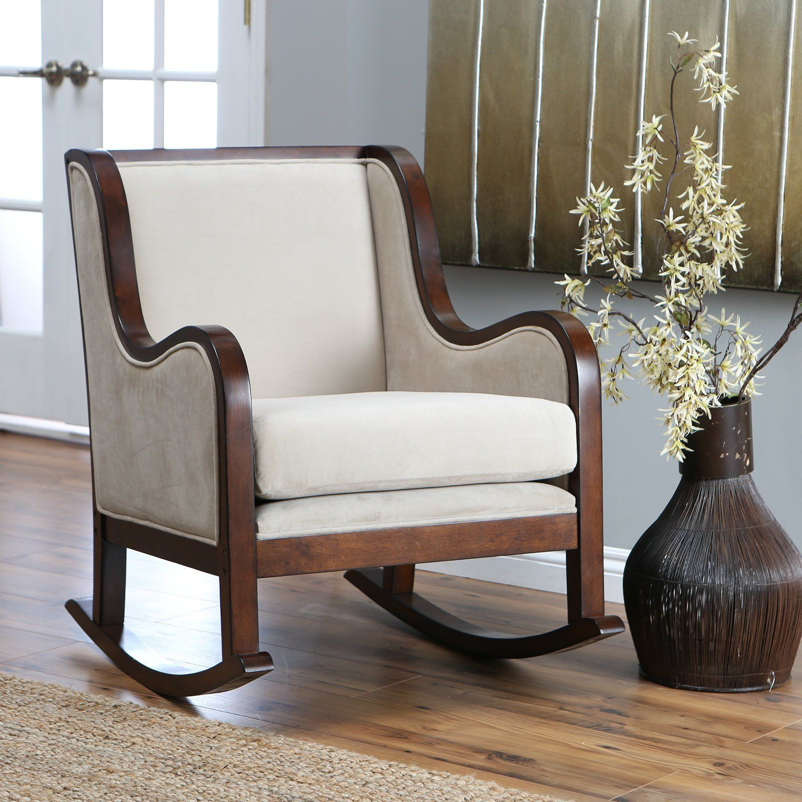 wooden rocking chair with cushion. Delighful Rocking Belham Living Baylor Rocking Chair  Rich Espresso Contrasts Beautifully  With Contemporary Ivory Microfiber To Create The Transitional  Intended Wooden With Cushion