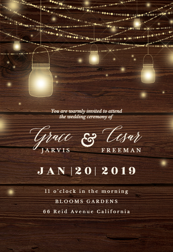 Strings of lights Wedding Invitation Template (free in