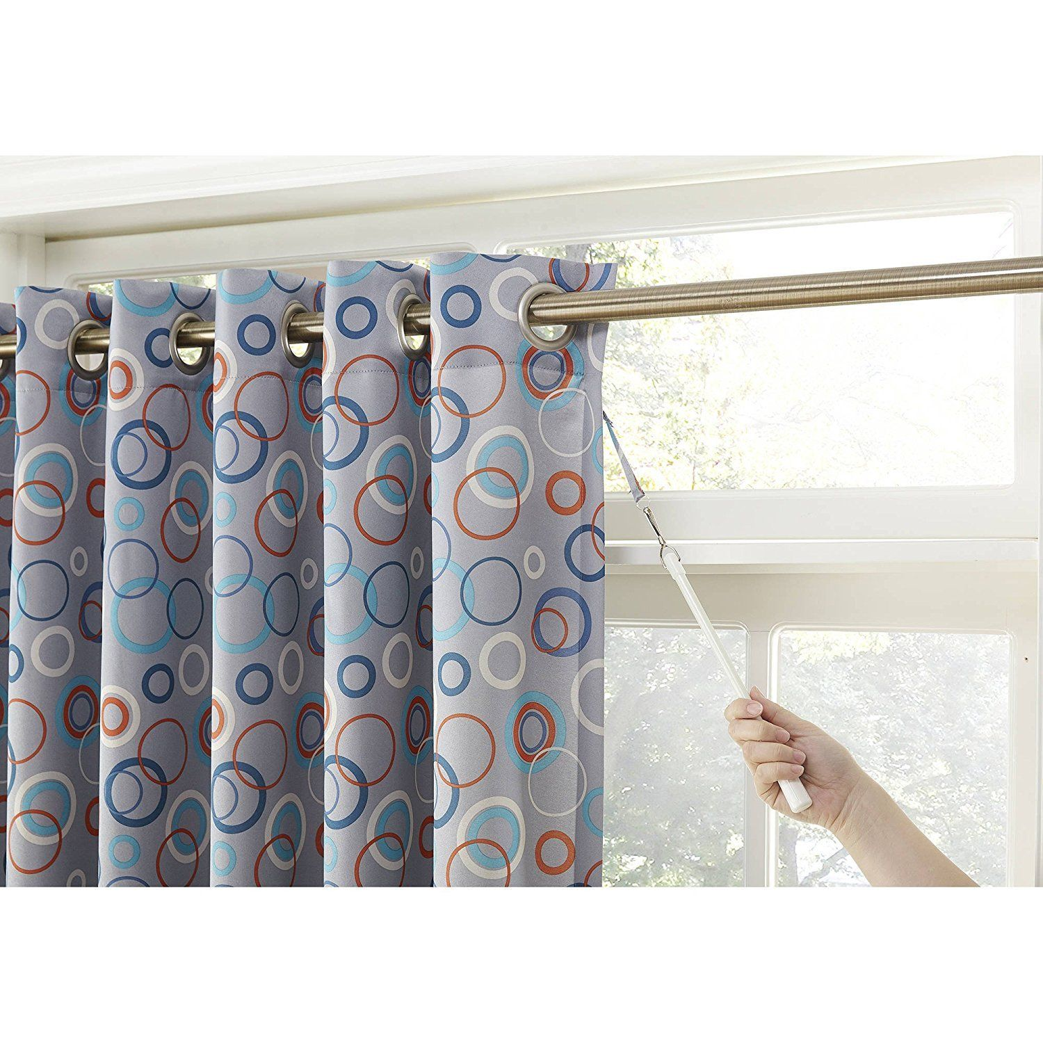 Inch Grey Color Circular Extra Wide Sliding Door Curtain