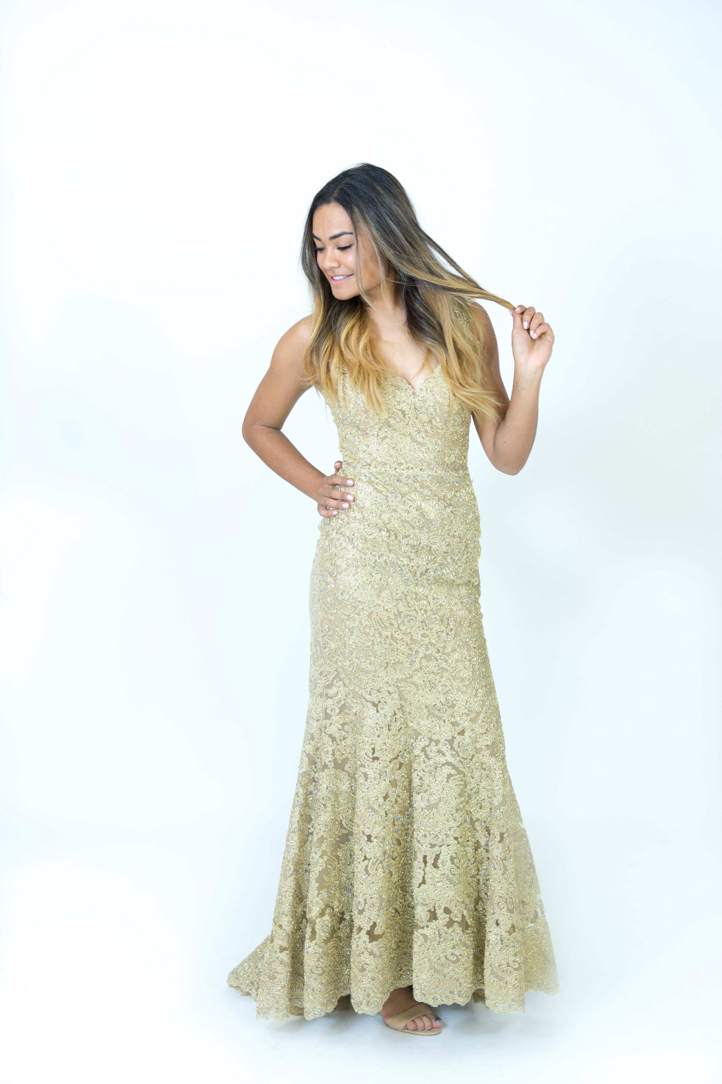 Gold Fitted lace Dress Ypsilon Dresses Pageant Prom Evening Wear ...