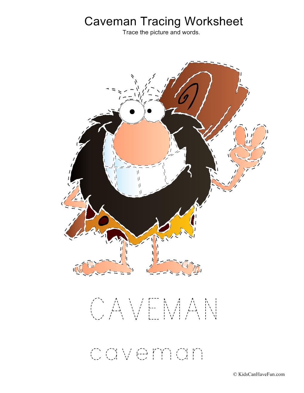 Workbooks prehistory worksheets : Tracing Caveman Worksheet | Educational Worksheets, Reading ...