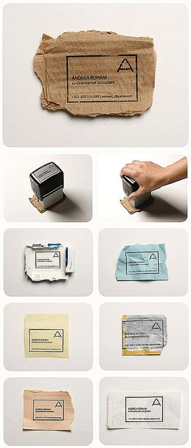"""Clever """"business card"""" design by Fischer Portugal utilizes a self-inking rubber stamp and any nearby piece of paper to create an eco-friendly card for an environmental consultant. Brilliant!"""