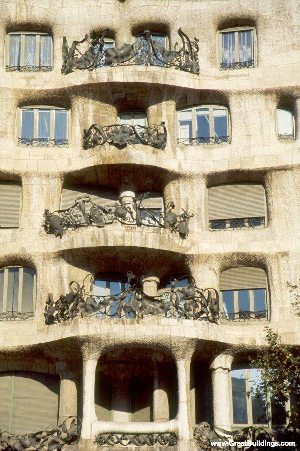Casa Mila, by Antoni Gaudi, at Barcelona, Spain, 1905 to 1910