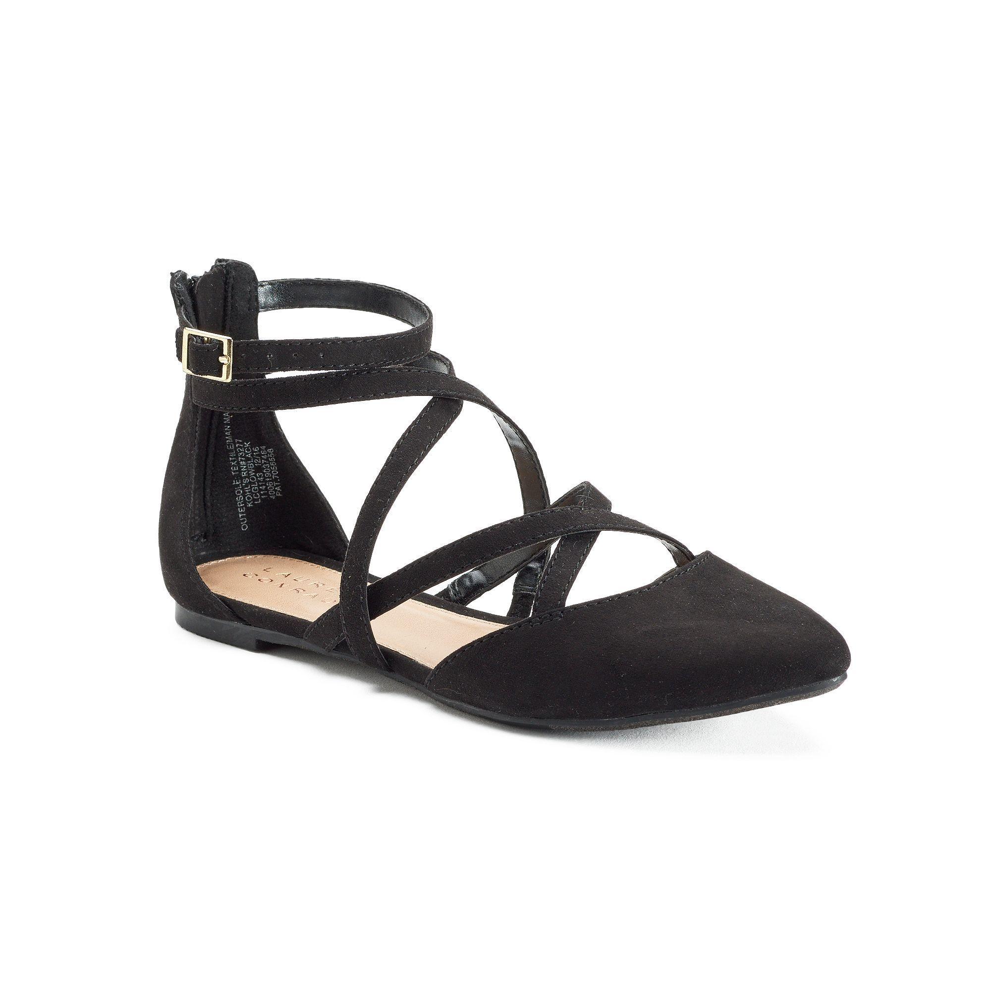 Women's LC LAUREN GLOW Black Strappy Zip up Flats Casual/Dress Shoes NEW