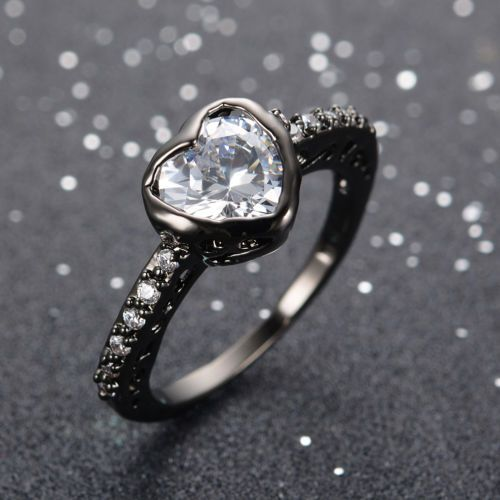 8MM-Ring-Size-6-10-White-Sapphire-Crystal-Womens-10Kt-Black-Gold-Filled-Wedding