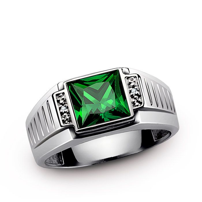 Men's Emerald Ring in Sterling Silver with GENUINE DIAMONDS, Mens Gemstone  Ring, Emerald Ring
