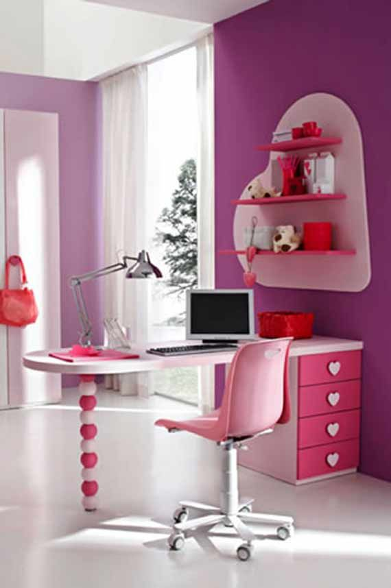 Modern Girls Bedroom: Modern Desk For Pink Teen Bedroom Modern Pink Teen Bedroom