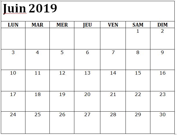 Calendrier Mensuel Juin 2019.Juin 2019 Calendrier A Imprimer Mensuel Words