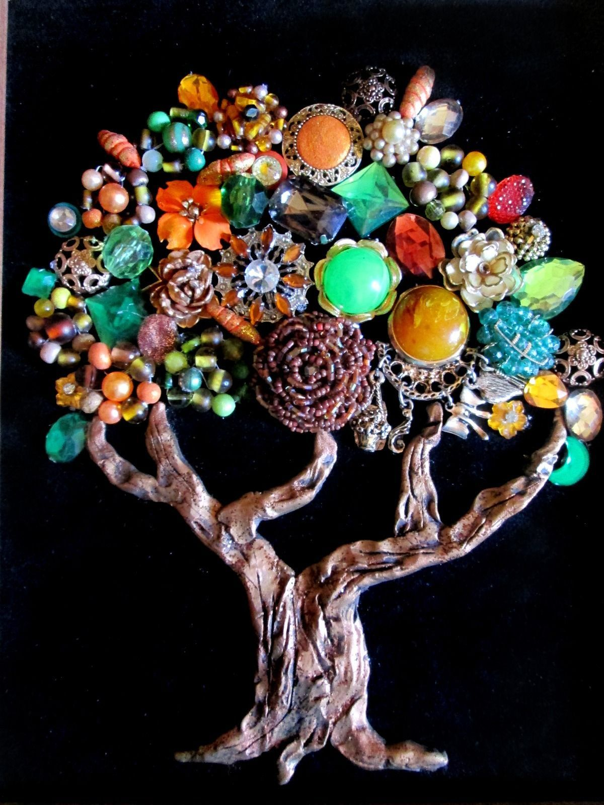 Vintage Costume Jewelry Fall Tree Framed Rhinestones Beads Christmas ...